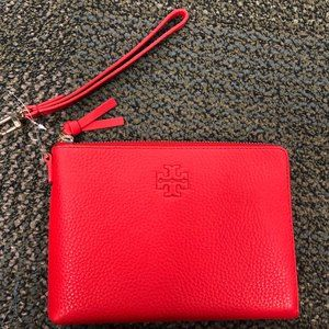 Tory Burch Thea Large Zip Pouch Brilliant Red NEW